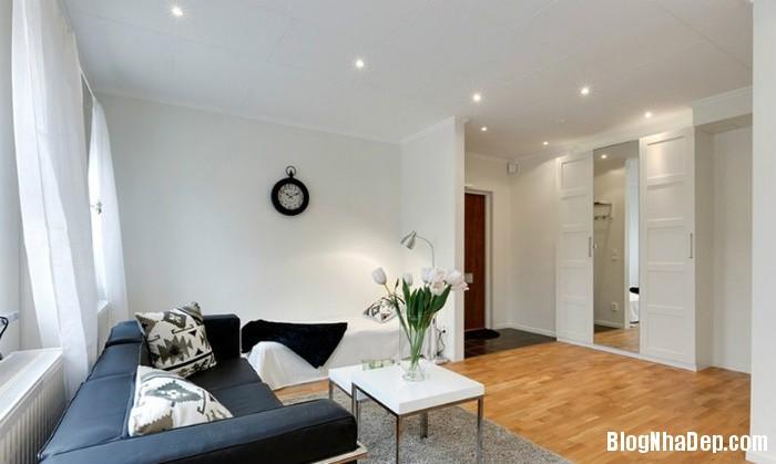 can ho mau trang 2 222529918 Mẫu căn hộ 30m2 rộng thoáng bất ngờ với gam màu trắng