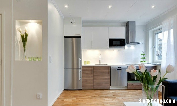 can ho mau trang 3 222530426 Mẫu căn hộ 30m2 rộng thoáng bất ngờ với gam màu trắng
