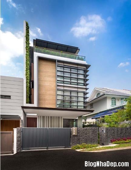 082505l 1 Mẫu căn biệt thự đẹp có mảng tường xanh mát