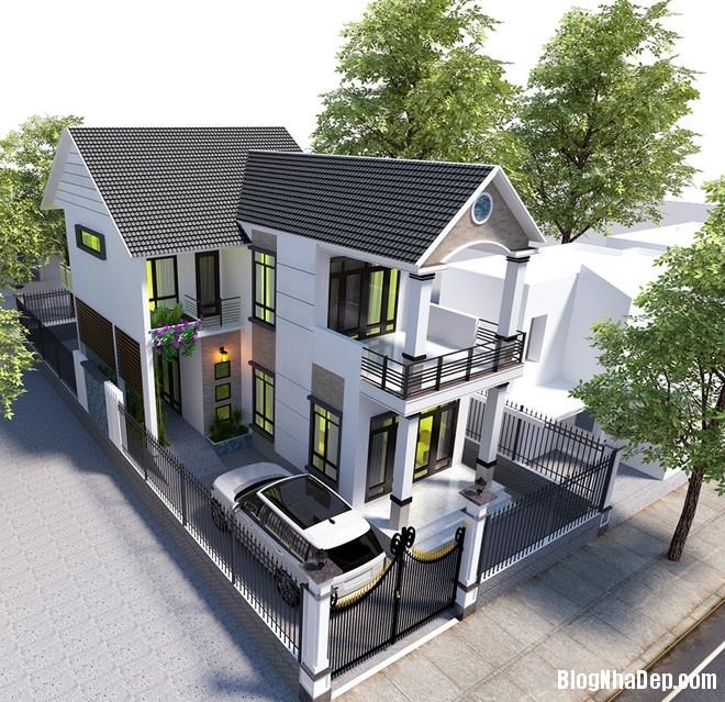 074549l 3 Mẫu biệt thự 2 tầng thoáng đãng mang phong cách châu Âu hiện đại