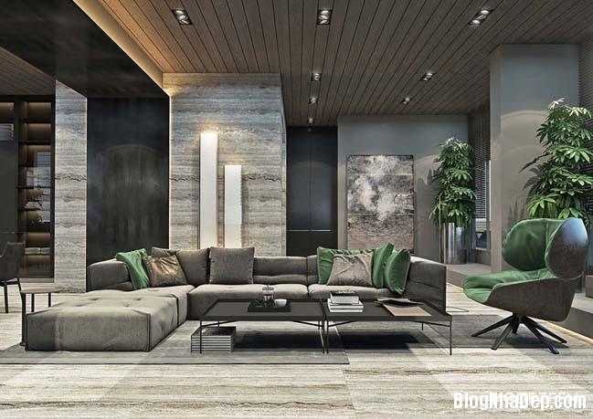 can ho duplex penthouse 01 Mẫu căn hộ duplex penthouse lấy cảm hứng từ rừng nhiệt đới