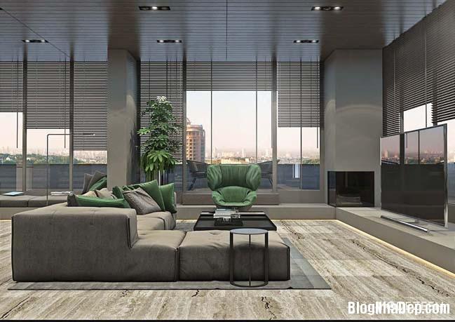 can ho duplex penthouse 03 Mẫu căn hộ duplex penthouse lấy cảm hứng từ rừng nhiệt đới