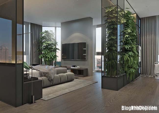 can ho duplex penthouse 21 Mẫu căn hộ duplex penthouse lấy cảm hứng từ rừng nhiệt đới