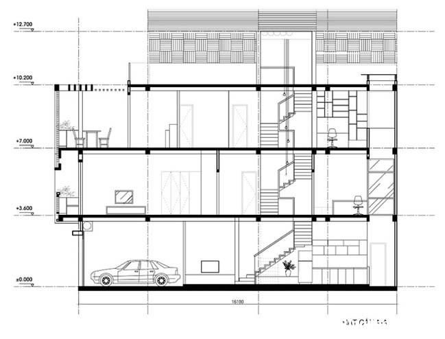 nha pho dep 3 tang 171 Mẫu nhà phố đẹp 3 tầng ngập tràn ánh sáng nhờ giếng trời