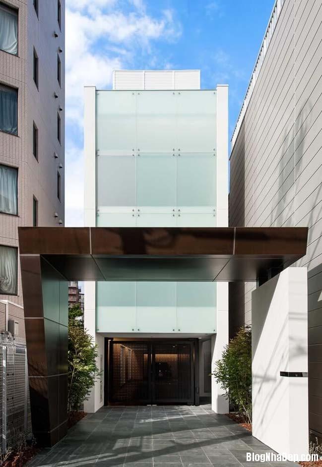 nha pho dep 01 Mẫu nhà phố đẹp với thiết kế mặt tiền kín đáo
