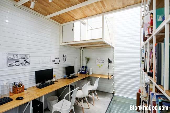 mau nha pho nho dep 10m2 08 Biến ngôi nhà phố nhỏ hẹp thành văn phòng ngập tràn ánh sáng