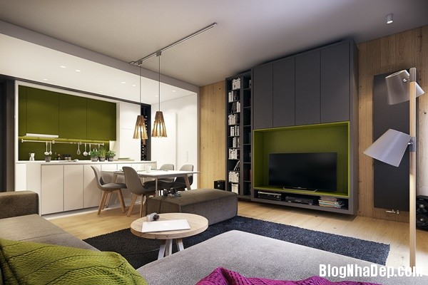noi that chung cu hien dai voi mau nhan tre trung 021 Mẫu nội thất chung cư hiện đại với màu nhấn trẻ trung