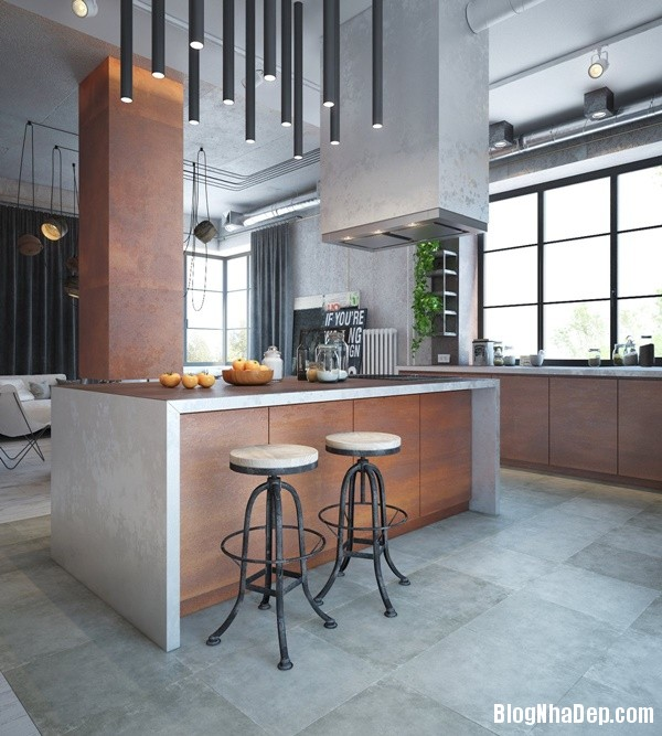 can ho cong nghiep voi bang mau am ap 02 Mẫu thiết kế căn hộ công nghiệp với bảng màu ấm áp