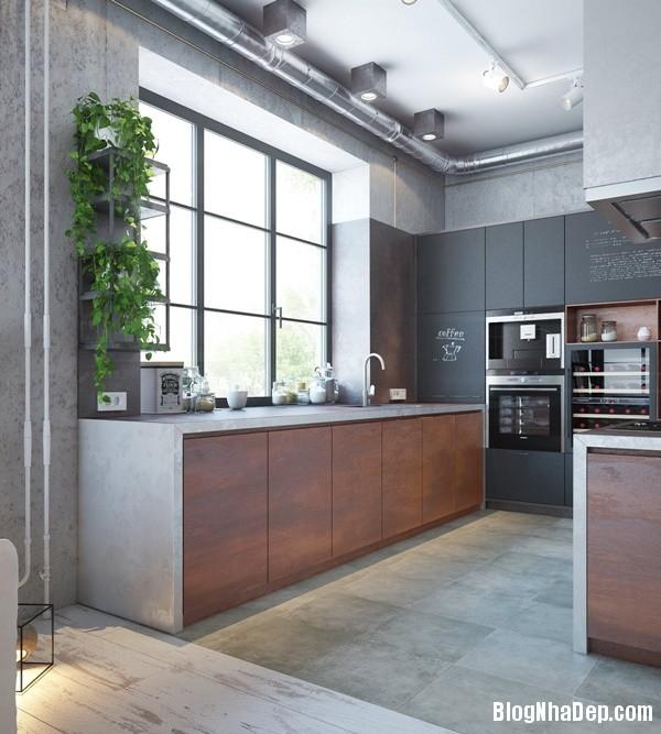 can ho cong nghiep voi bang mau am ap 03 Mẫu thiết kế căn hộ công nghiệp với bảng màu ấm áp