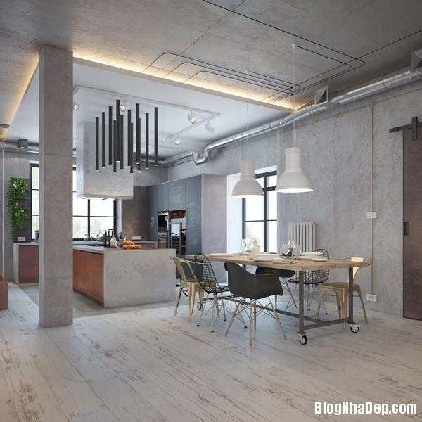can ho cong nghiep voi bang mau am ap 06 Mẫu thiết kế căn hộ công nghiệp với bảng màu ấm áp