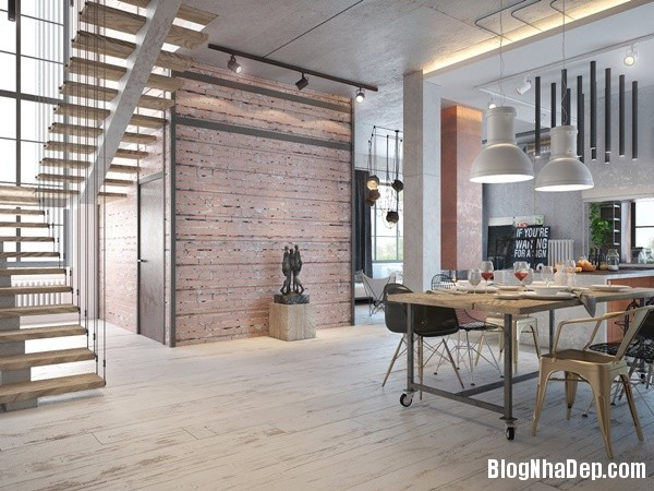 can ho cong nghiep voi bang mau am ap 08 Mẫu thiết kế căn hộ công nghiệp với bảng màu ấm áp