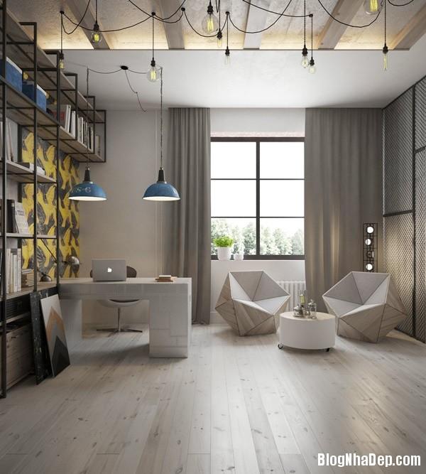 can ho cong nghiep voi bang mau am ap 15 Mẫu thiết kế căn hộ công nghiệp với bảng màu ấm áp