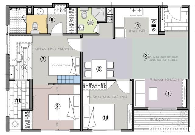 19 Thiết kế căn hộ 82 m2 thoáng mát cho gia đình trẻ ở Sài Gòn