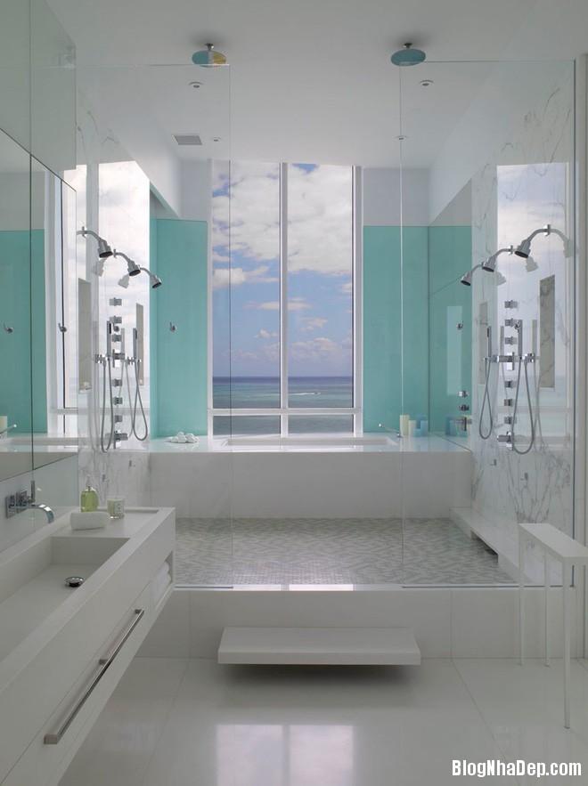 1214 Phòng tắm xanh – trắng mát lịm thách thức cái nắng oi bức mùa hè