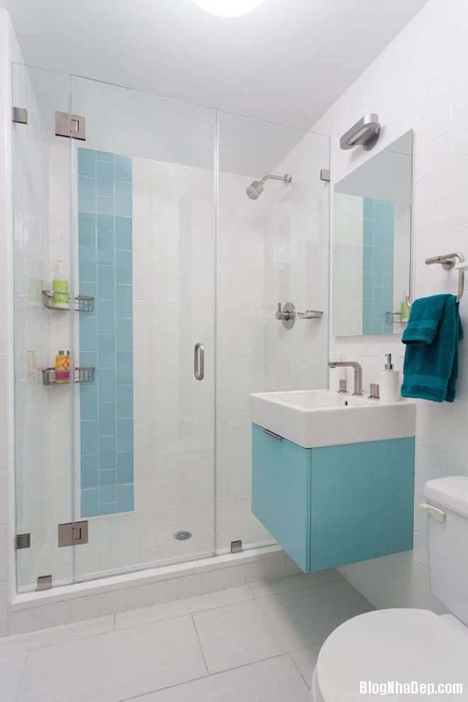 423 Phòng tắm xanh – trắng mát lịm thách thức cái nắng oi bức mùa hè