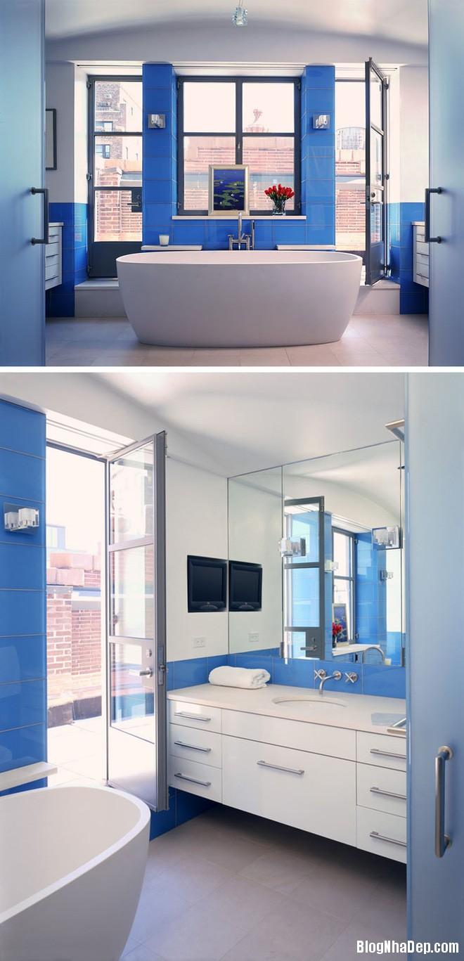 719 Phòng tắm xanh – trắng mát lịm thách thức cái nắng oi bức mùa hè