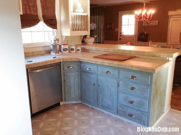 bep mau ngoc lam 1 Những căn bếp màu ngọc lam đẹp hài hòa và sang trọng