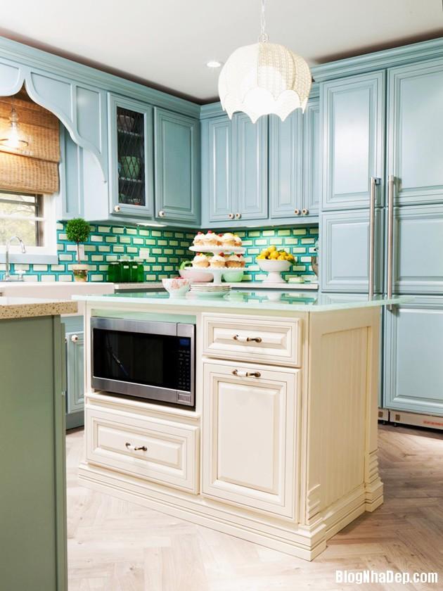 bep mau ngoc lam 10 Những căn bếp màu ngọc lam đẹp hài hòa và sang trọng