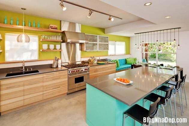 bep mau ngoc lam 11 Những căn bếp màu ngọc lam đẹp hài hòa và sang trọng