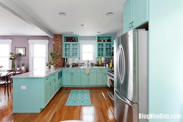 bep mau ngoc lam 3 Những căn bếp màu ngọc lam đẹp hài hòa và sang trọng