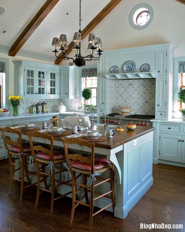 bep mau ngoc lam 5 Những căn bếp màu ngọc lam đẹp hài hòa và sang trọng