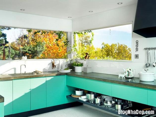 bep mau ngoc lam 6 Những căn bếp màu ngọc lam đẹp hài hòa và sang trọng