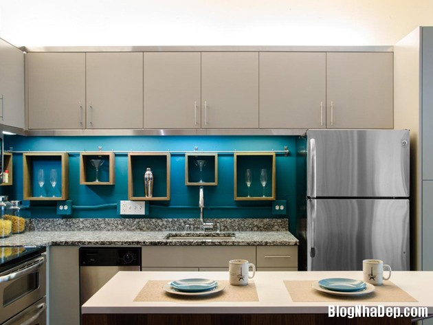 bep mau ngoc lam 8 Những căn bếp màu ngọc lam đẹp hài hòa và sang trọng