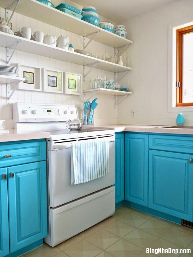bep mau ngoc lam 9 Những căn bếp màu ngọc lam đẹp hài hòa và sang trọng