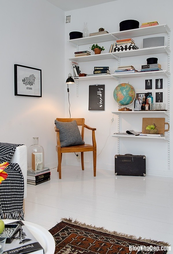 can ho nho thiet ke dep 71 Ghé thăm căn hộ 41m² với tông màu đen   trắng