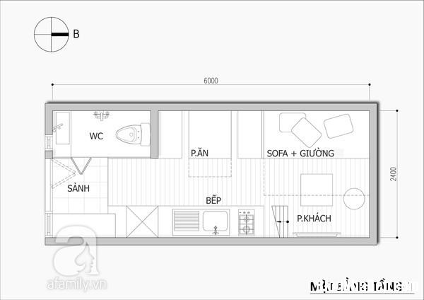 thiet ke nha nho 14 met vuong Tư vấn thiết kế và bài trí nội thất cho ngôi nhà có diện tích 14,4 mét vuông