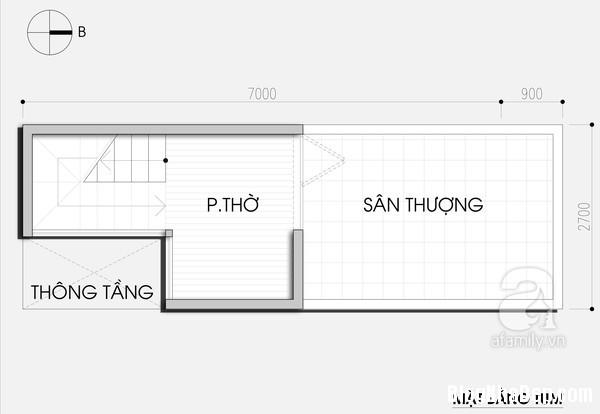 thiet ke nha ong 19m2 4 Thiết kế nhà ống cho gia đình 4 người