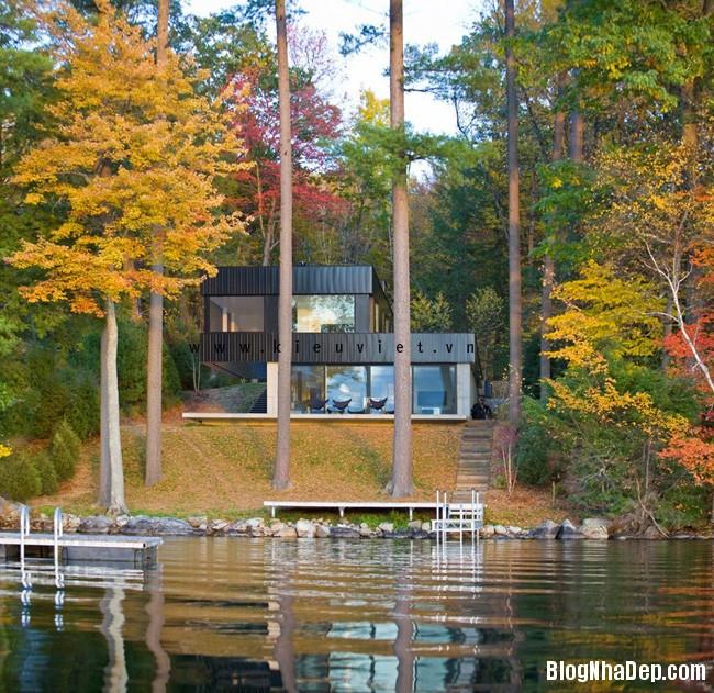 Lake House1 Ngôi nhà Cantilever Lake House nổi bật giữa khung cảnh rừng cây và hồ nước
