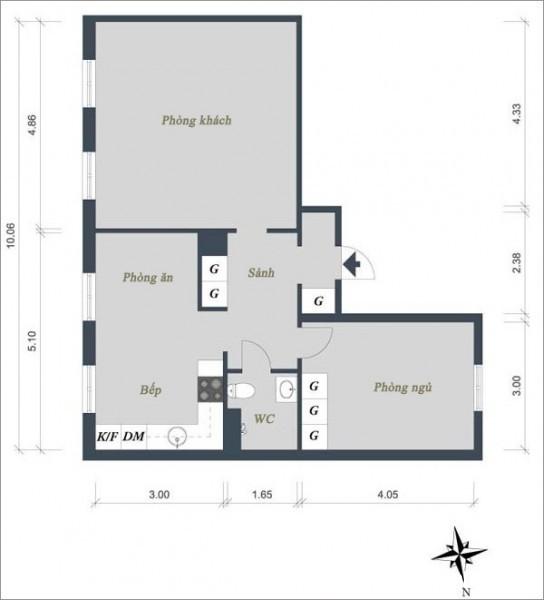baitri090114 1 544x600 Nội thất trong căn hộ hình chữ L