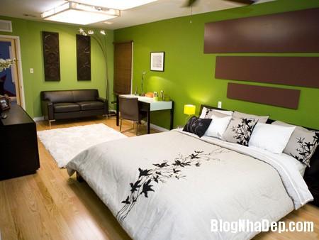 1green bedroom7 Phòng ngủ dễ chịu hơn với gam màu xanh lá