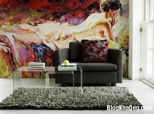 20140514084550140 Phòng khách ấn tượng với giấy dán tường và tranh cổ điển