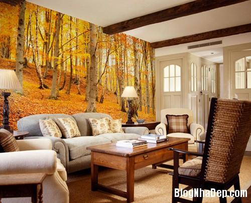 20140514084552979 Phòng khách ấn tượng với giấy dán tường và tranh cổ điển