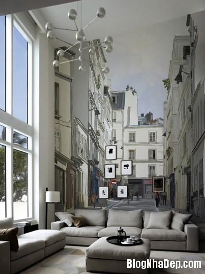 20140514084557004 Phòng khách ấn tượng với giấy dán tường và tranh cổ điển