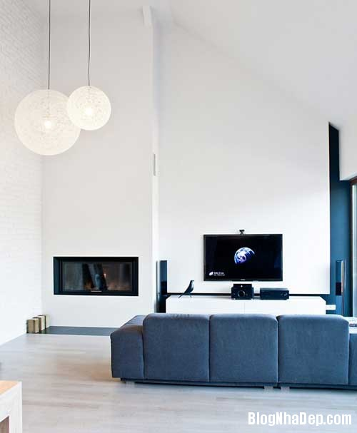 Don gian va hien dai voi hai mau xanh va trang 2 Không gian nội thất đơn giản và hiện đại