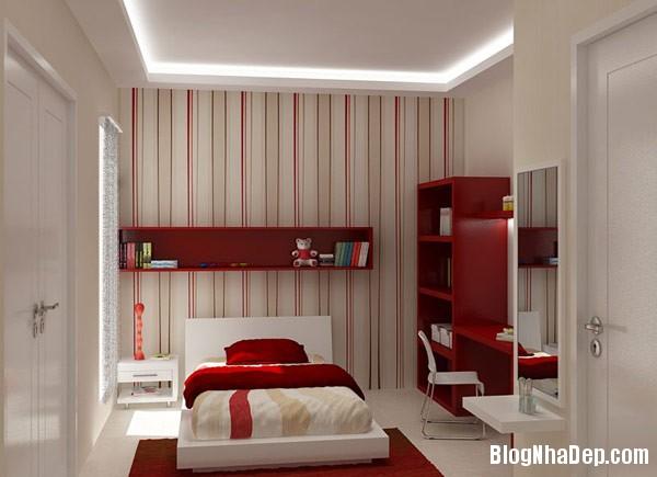 Red white teenager bedroom  Trang trí nội thất nhà bằng họa tiết kẻ sọc