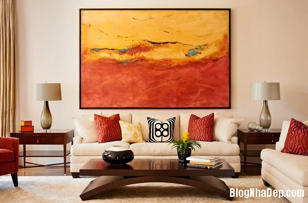 a 2 aaeb6 Trang trí phòng khách đẹp với tranh trừu tượng