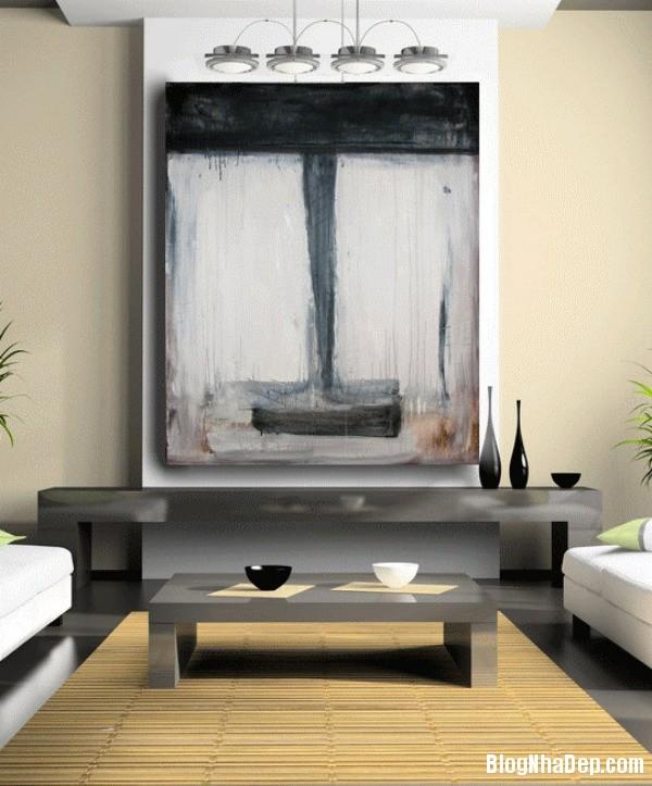 a 8 aaeb6 Trang trí phòng khách đẹp với tranh trừu tượng