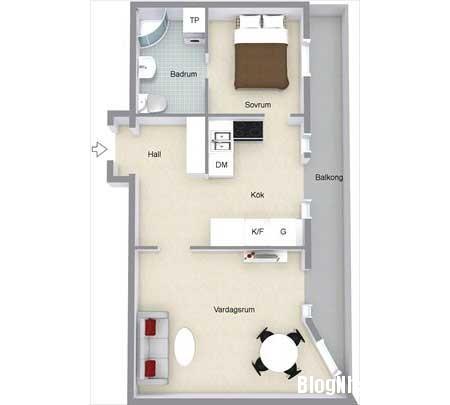 can ho cao cap 45m2 Sắp xếp không gian hợp lý trong ngôi nhà nhỏ