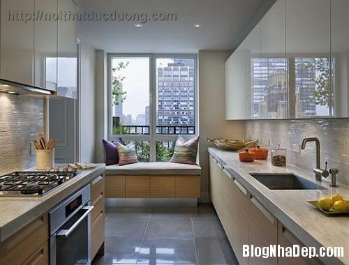 cf4b4  tu bep hai mau sac 1 Màu sắc sinh động cho không gian nhà bếp