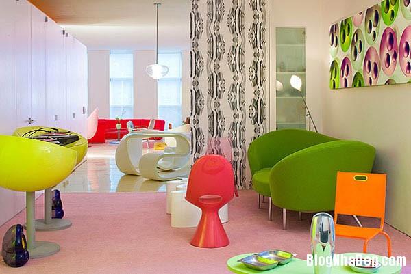 khong gian sinh dong4 Thiết kế nội thất kết hợp nhiều màu sắc nổi bật