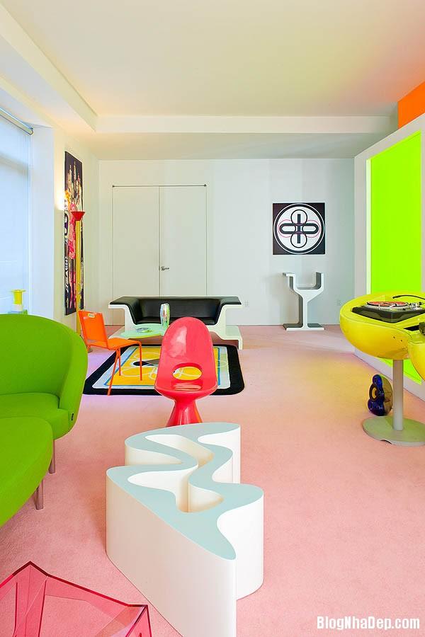 khong gian sinh dong6 Thiết kế nội thất kết hợp nhiều màu sắc nổi bật