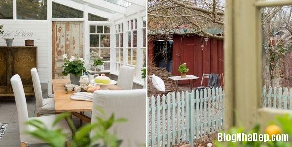 ngoai than 4578f Ngôi nhà tinh tế lãng mạn với nội thất vintage và tông màu xanh   trắng