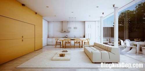 phong khach phong bep 1 Kết hợp không gian phòng khách và phòng ăn