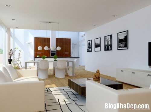 phong khach phong bep 10 Kết hợp không gian phòng khách và phòng ăn