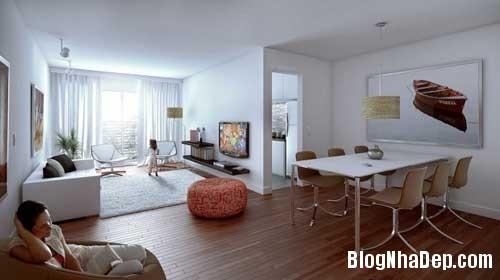 phong khach phong bep 12 Kết hợp không gian phòng khách và phòng ăn