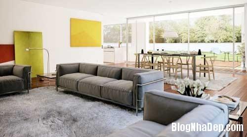 phong khach phong bep 3 Kết hợp không gian phòng khách và phòng ăn